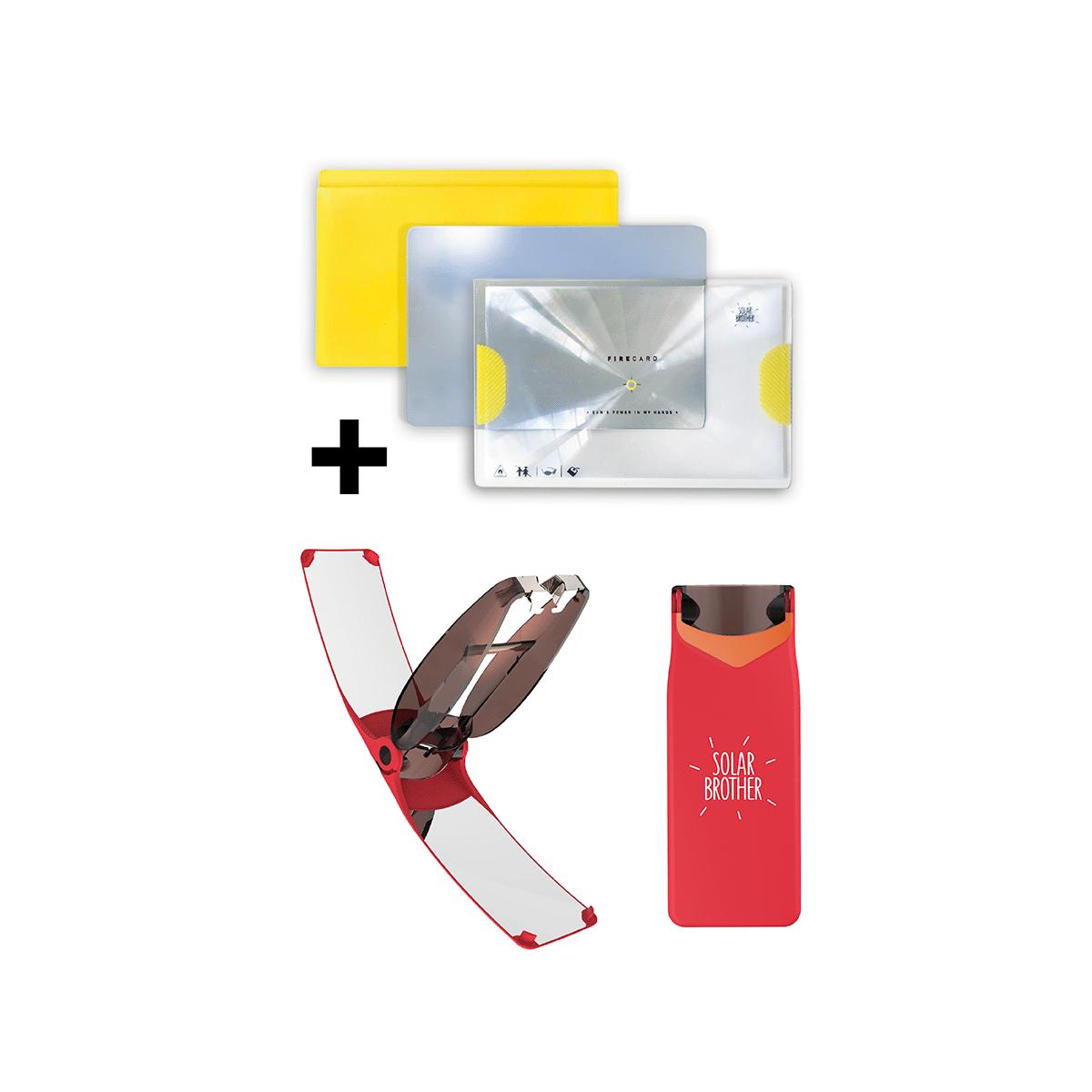 /Étui bi-/énergie Unique : allumage Solaire instantan/é ou allumage au gaz Traditionnel SOLAR BROTHER Waterproof /& Windproof /— Innovation fran/çaise brevet/ée Briquet Solaire Suncase /— Rouge